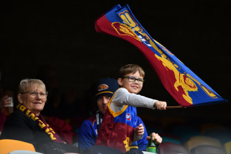 Lions fans at match against the Adelaide Crows at the Gabba on Sunday. Brisbane have bounced back from a round-one disappointment and sit third after Sunday's win.