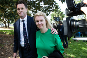 A tight team: Labor MP Chris Minns with his wife Anna Minns at a press conference in November 2018.