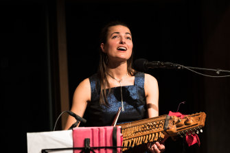Runa Cara - Bonnie Stewart (drums, guitar) and Freya Schack-Arnott (cello, nyckelharpa) - perform at Sydney Opera House's Utzon Room on May 28, 2021.