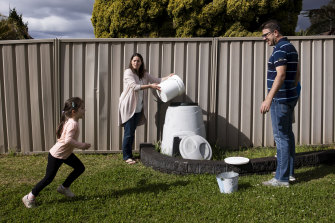 By composting their food scraps, the Giles family significantly cuts down on how much they put in the bin.