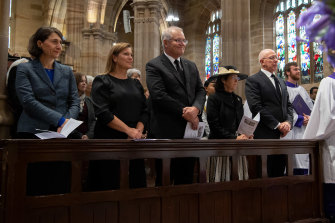 Premier Gladys Berejiklian, Prime Minister Scott Morrison and wife Jenny, and Governor-General David Hurley and wife Linda attend the St Andrew's service on Sunday.
