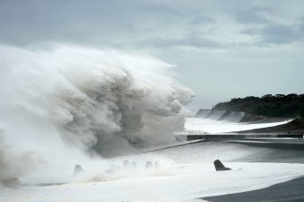 Surging waves generated by typhoon Hagibis hit the seashore in Mihama, Mie Prefecture, Japan.