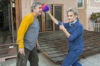 Don't play ball in the house: Christopher Knight (Peter) and Maureen McCormick (Marcia) during the Brady house renovation.