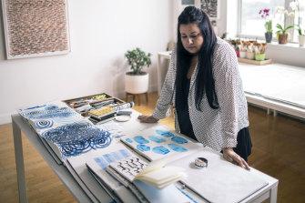 Hadieh Shafie working in her New York studio in 2021. Courtesy of the artist and Yavuz Gallery, Sydney.