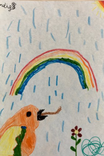 """Indigo Church, 7, draws her feelings: """"I am a lonely bird missing my flock but I know a rainbow is coming."""""""