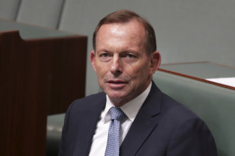 Former prime minister Tony Abbott during debate in the House of Representatives on Thursday.