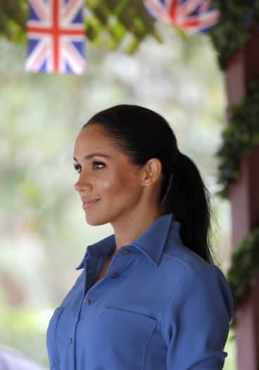Meghan, Duchess of Sussex smiles during a visit to Tupou College in Tonga, Friday.