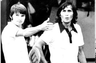 Double trouble: Connors and Nastase take issue with hecklers after the Romanian disputed a line call during a game in the US in 1979.