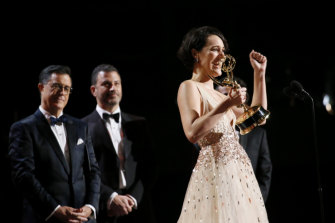 Phoebe Waller-Bridge accepts the award for outstanding lead actress in a comedy series for Fleabag.