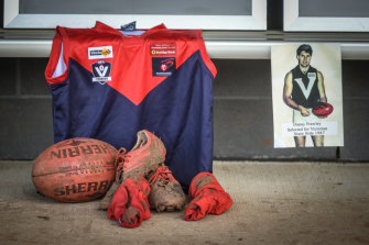 Frawley's old jumper, boots and socks at the Bungaree Football Oval on Tuesday.