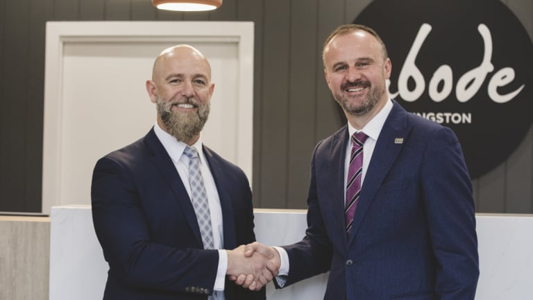 ACT Chief Minister Andrew Barr, and founder and managing director of Geocon, Nick Georgalis at the opening of Abode Kingston on Friday.