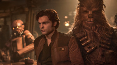 Alden Ehrenreich as Han Solo and Joonas Suotamo as Chewbacca in Solo.