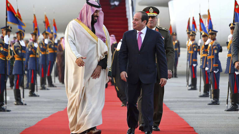Saudi Crown Prince Mohammed bin Salman, left, is greeter by Egyptian President Abdel-Fattah el-Sissi in Cairo on Sunday, for a visit meant to deepen the alliance between two of the region's powerhouses.