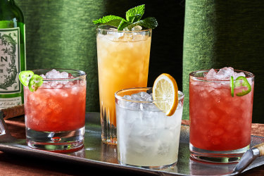 Non-alcoholic cocktails: Strawberry-Jalapeno Non-a-Rita (or Margarita), Meyer Lemon Squeeze and Two-Faced Pineapple.