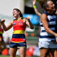 Ailish Considine of the Adelaide Crows reacts on the final siren following the Round 3 match.