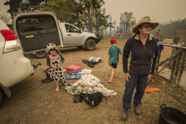 Dungay cattle farmer Sue Clarke packing a vehicle ahead of worsening  conditions.