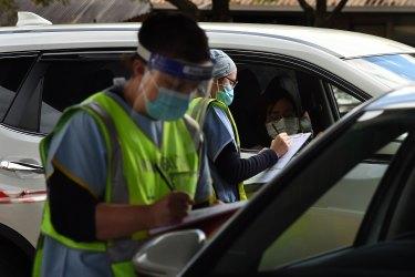 Coronavirus testing in Summer Hill, Sydney.