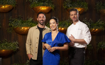 Judges Andy Allen, Melissa Leong and Jock Zonfrillo have adopted social distancing measures in the latest episodes of MasterChef.