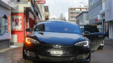 A Tesla Model S idles in Davos ahead of the  World Economic Forum in January.