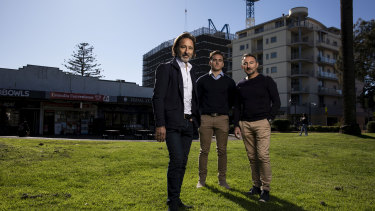 Allen, Julian and John Sammut are behind a proposed development adjacent to Monro Park in Cronulla.