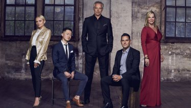 The cast of Filthy Rich & Homeless season two, left to right: Alli Simpson, Benjamin Law,Cameron Daddo,Alex Greenwich, and Skye Leckie.