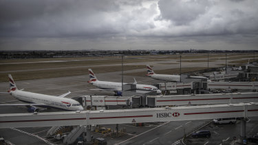 British Airways planes sit idle at Heathrow.