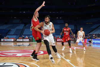 Andrew Bogut in action during game two of the NBL grand final series in March.