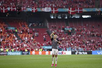 Kasper Dolberg celebrates after Denmark's big win.