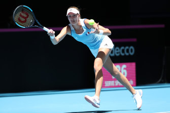 Focus: Kristina Mladenovic in action against Ajla Tomljanovic in the 2019 Fed Cup Final tie between Australia and France.
