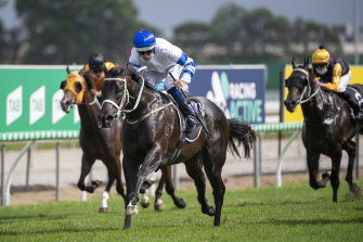 Shaquero bursts clear in the Magic Millions Two-Year-Old Classsic.