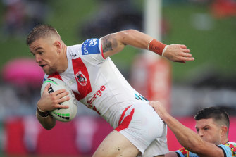 Matt Dufty was off the field for 15 minutes following a hit from Cronulla's Jesse Ramien.