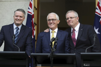 "Malcolm Turnbull with Mathias Cormann and Scott Morrison in August 2018: ""Cormann's conduct disappointed me the most because, for a start, we had become good friends."""