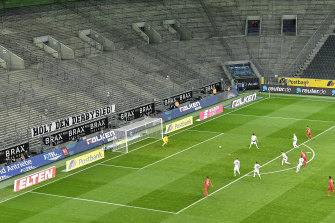The first Bundesliga game to be held without fans: Borussia Moenchengladbach v Cologne.