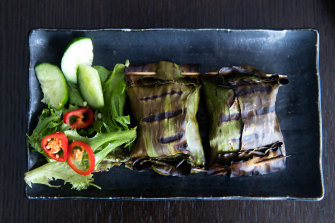 A favourite dish: otak otak parcels of minced white fish with chilli.