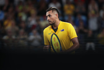 Nick Kyrgios was well beaten by Roberto Bautista Agut on Saturday.