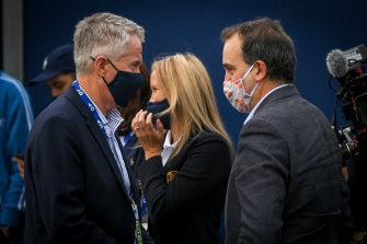 Sports Minister Martin Pakula and Australian Open boss Craig Tiley in February.