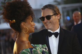 With co-star Zazie Beetz  at the premiere of Joker. The film won the prestigious Golden Lion at Venice.