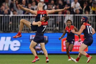 Max Gawn celebrates a goal.