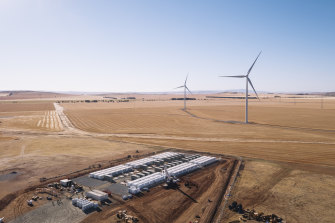 The Tesla battery at the Hornsdale Power Reserve in South Australia.