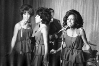 The Supremes (from left) Florence Ballard, Mary Wilson and Diana Ross, perform in 1964.