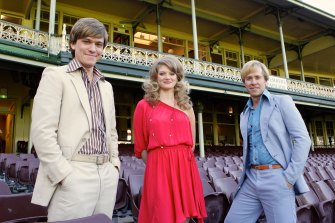 """Abe Forsythe, left, played John Cornell in """"Howzat! Kerry Packer's War"""" about the World Series Cricket revolution. Pictured also are Cariba Heine (Delvene Delaney) and Travis McMahon (Paul Hogan)."""