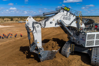Equipment arrives to remove the overburden from Adani's Carmichael coal mine in central Queensland in July 2020.