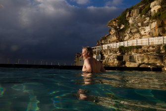 The ocean pool at Bronte was reopened on Friday, allowing Glen Steele to take a dip.