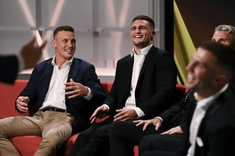 Winning smiles: Jack Wighton and Nathan Cleary on Monday.