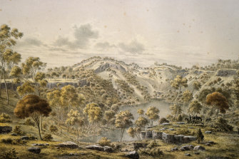 The crater of the dormant volcano Budj Bim (until recently Mount Eccles), in south-west Victoria, as depicted by Austrian-born painter Eugene von Guerard in 1865.