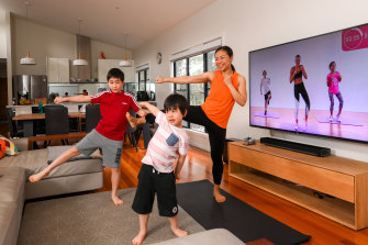 Melbourne-based Lina Adams fits in a daily 10-minute fitness break with her sons Finn and Jude.