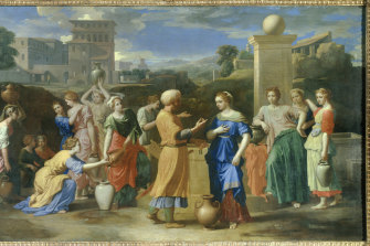 In Poussin's 'Eliezer and Rebecca'(1648), the well at which the meeting takes place has been equipped with an angular column topped by a mysterious stone sphere.
