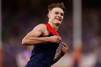 On fire: Bayley Fritsch celebrates his fifth goal during the AFL grand final.
