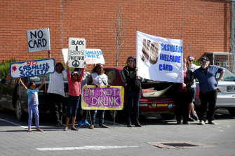 A demonstration against the cashless card in the South Australian town of Ceduna.