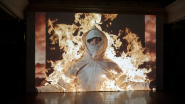 Cassils' Inextinguishable Fire, installation view, Dark Mofo 2019.